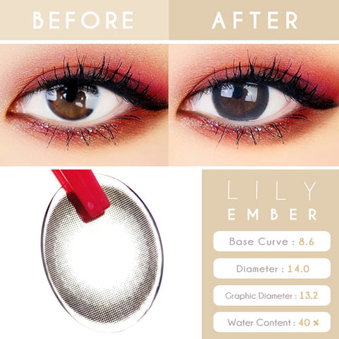 Lily Amber Black Colored Contacts - Circle Lens eyes
