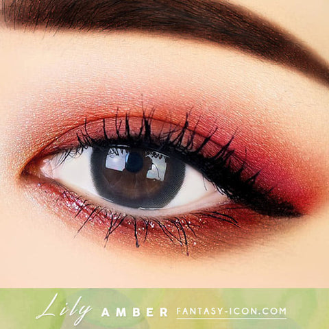 Lily Amber Black Colored Contacts - Circle Lens beautiful eyes