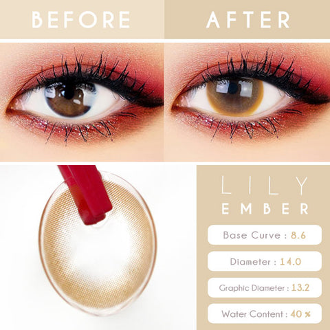 Lily Amber Brown Colored Contacts - Circle Lens beautiful eyes