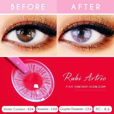 Ruby Artric Pink Colored Contacts - Detail