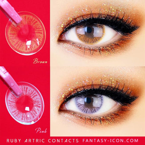 Pink and Brown Colored Contacts - Ruby Artric