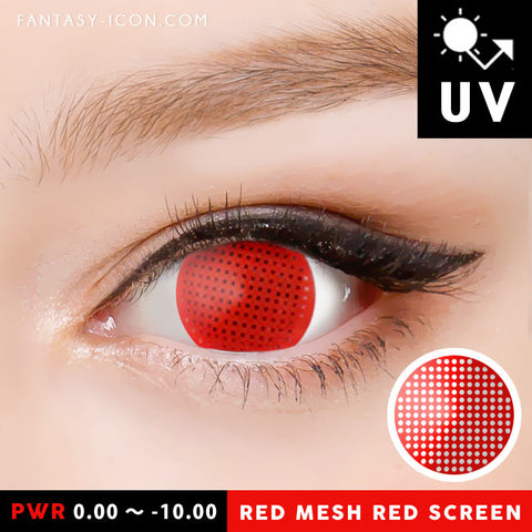Red Screen Contacts Halloween Lenses Mesh