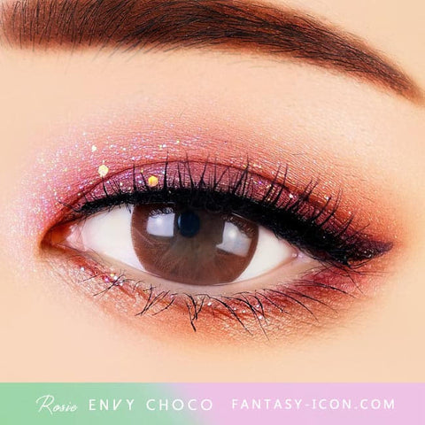 Rosie Envy Chocolate Brown Colored Contacts - Eyes Detail
