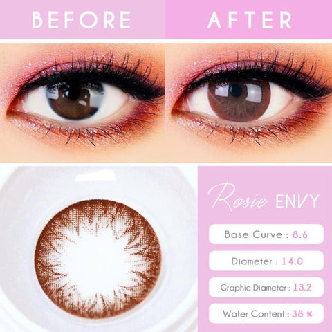 Rosie Envy Chocolate Brown Colored Contacts for Astigmatism - Detail