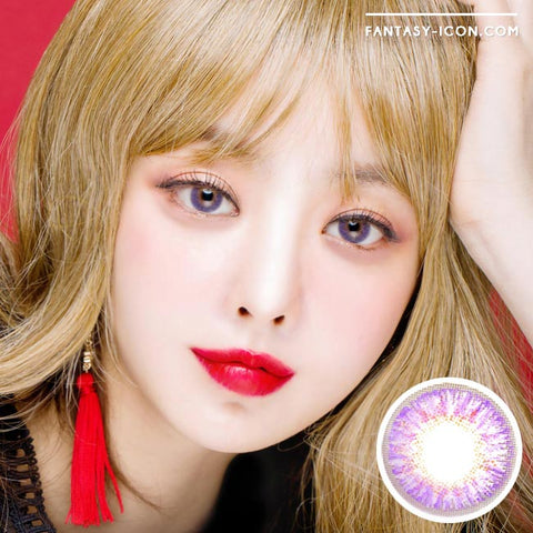 Eyes on You Violet Colored Contacts Model