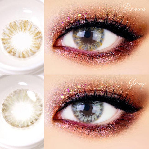 2Pair Vivi Flow Marine Brown, Grey Colored Contacts for Astigmatism