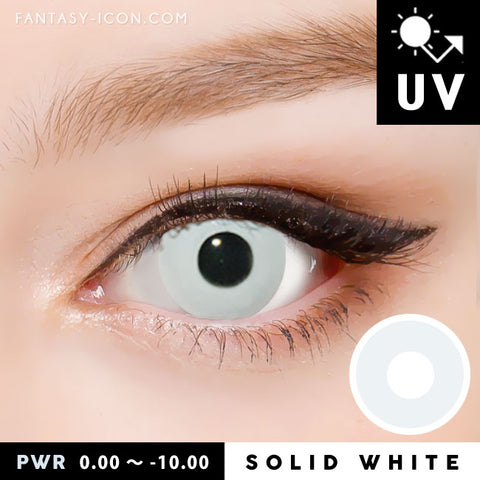 Innovision Solid White Contacts Prescription UV Blocking Halloween Cosplay Lenses