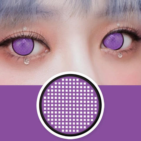 Anime Mesh Line Cosplay Violet Contacts | Halloween Purple Lenses