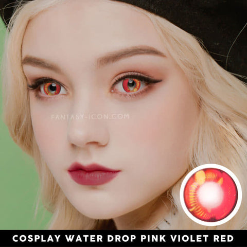 Water Drop Cosplay Pink Violet Contacts | Coscon red Lenses 2