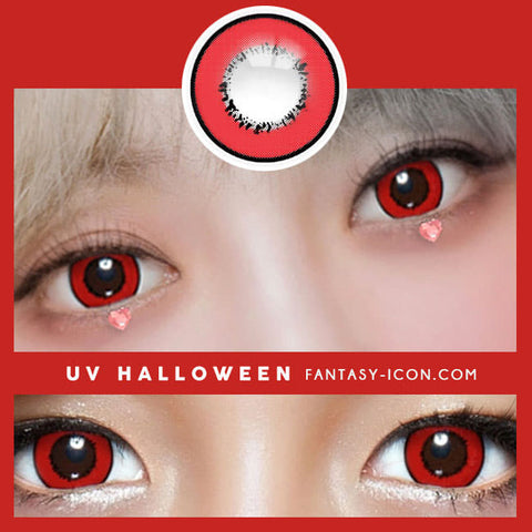 Cosplay UV Halloween Red Contacts detail