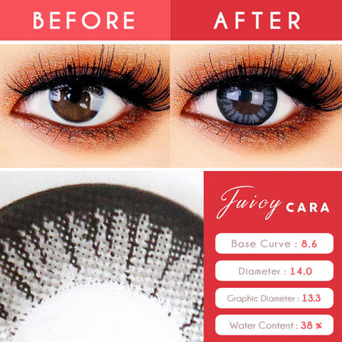 Colored Contacts for Hyperopia Juicy Cara Grey beautiful eyes
