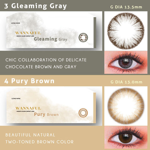 kpop Wannaful Contacts sale 4Lenses-Greaming Gray,Pury Brown