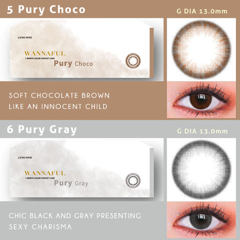 kpop Wannaful Contacts sale 4Lenses-Pury Choco,Pury Gray