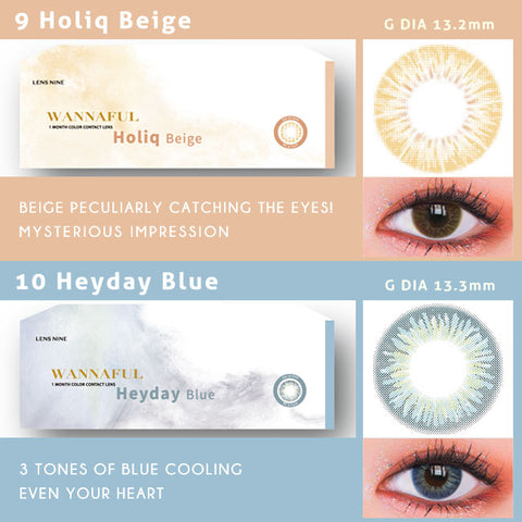 kpop Wannaful Contacts sale 4Lenses-Holiq Beige,Heyday Blue