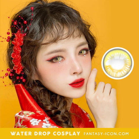 Water Drop Cosplay Yellow Contacts Model