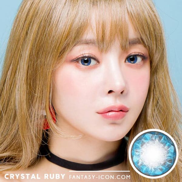 Crystal Ruby Queen Blue Contacts for Hperopyia | farsightedness Model
