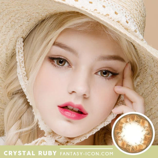 Crystal Ruby Queen Brown Contacts for Hperopyia - model