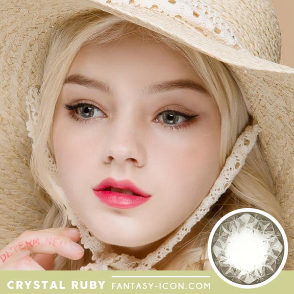 Crystal Ruby Queen Grey Contacts for Hperopyia - model