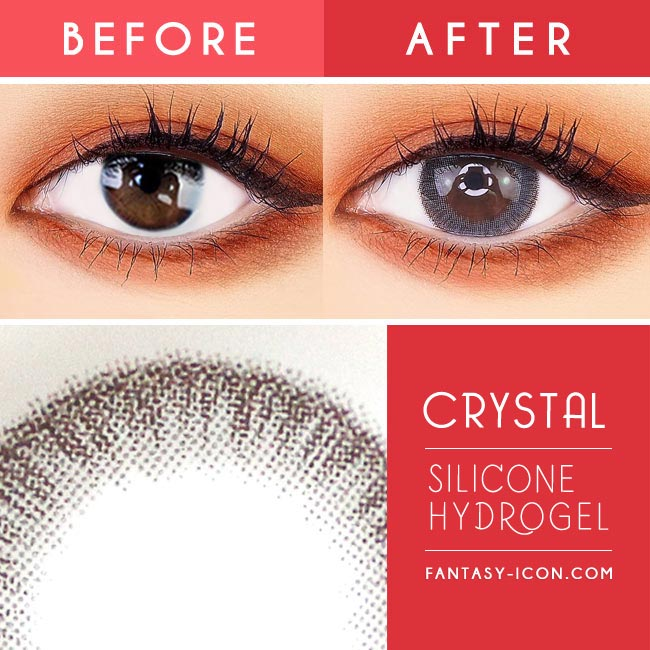 Crystal Silicone hydrogel Lens Grey Colored Contacts - Yearly