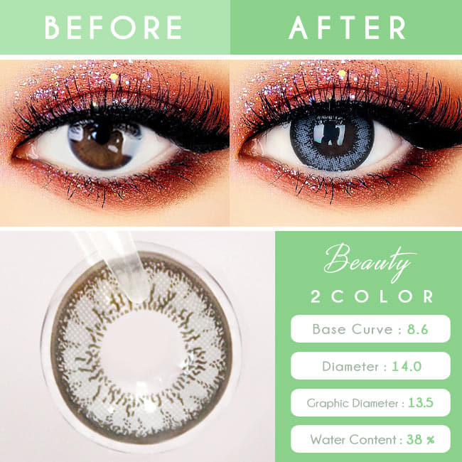 Colored Contacts for Hyperopia Two Color Grey - farsightedness Gray eyes
