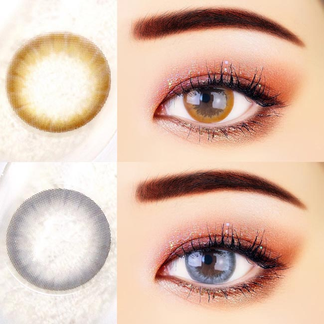 View Floral Contacts - Brown and Grey