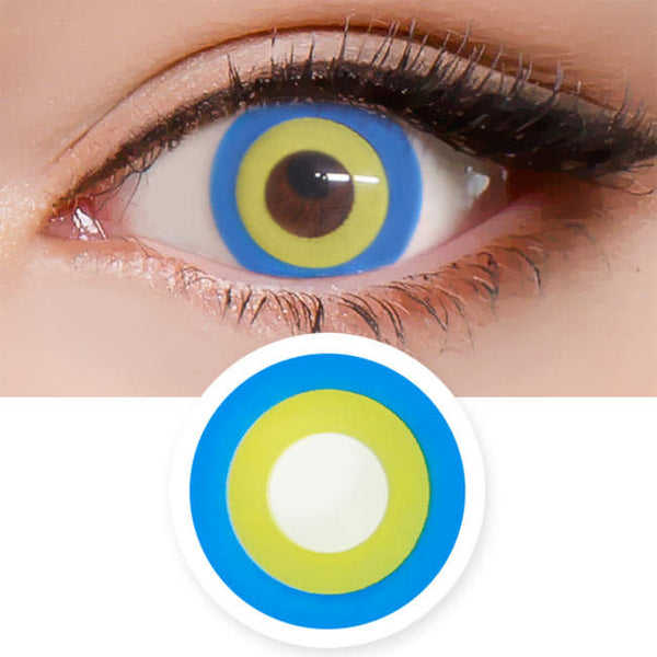 Halloween cosplay Blue Yellow contact Lens