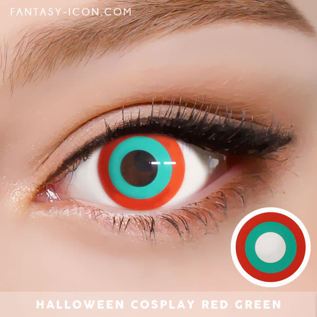 Halloween cosplay Red Green contact Lens 4