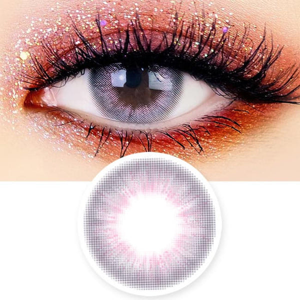Jade Luna Grey Colored Contacts - Pink Lens