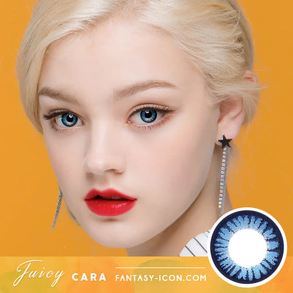 Juicy Cara Blue Colored Contacts - Circle Lenses model eyes