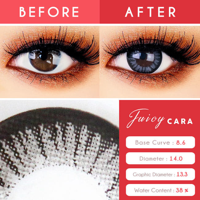 Juicy Cara Grey Colored Contacts - Circle Lenses eyes detail