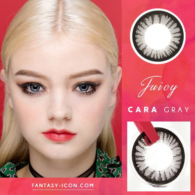 Juicy Cara Grey Colored Contacts - Circle Lenses model detail