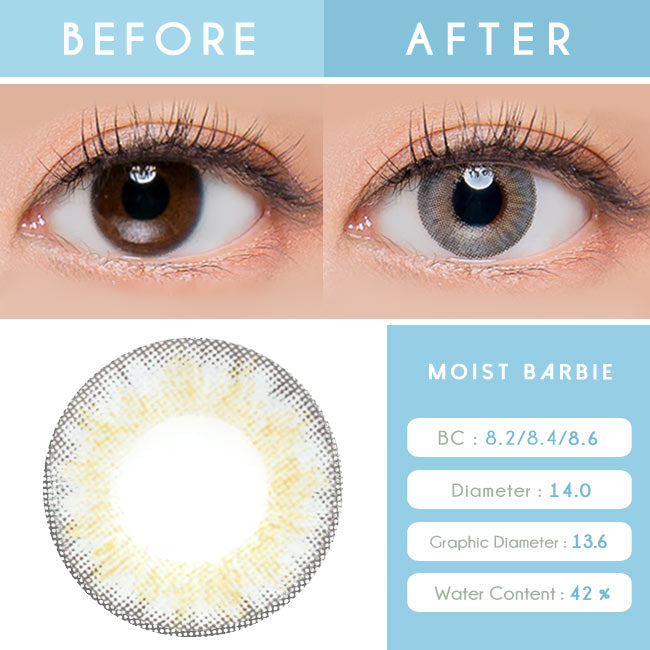 Colored Contacts For Astigmatism - Moist Barbie 3 tone Grey Toric Lens eye