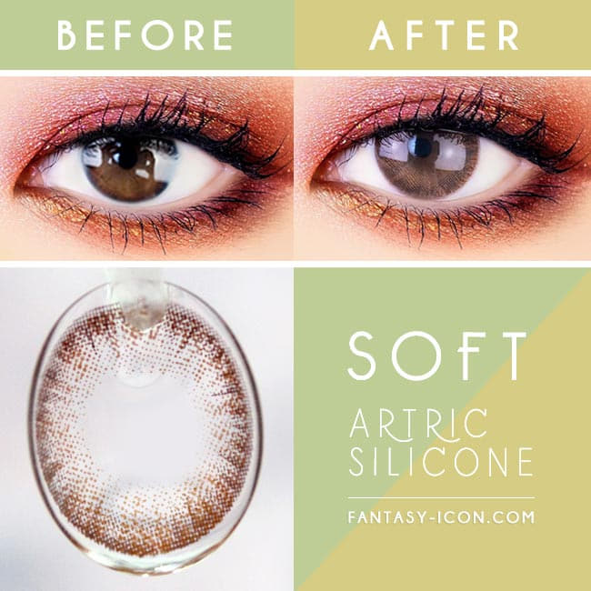 Soft Artric Silicone hydrogel Lens - 2 Day Brown Colored Contacts eyes detail
