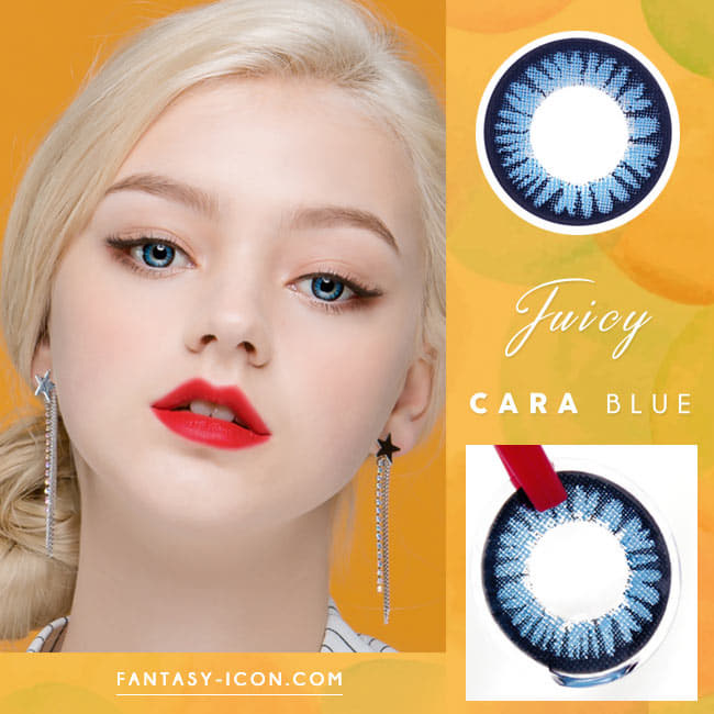 Juicy Cara Blue Colored Contacts For Astigmatism model eyes