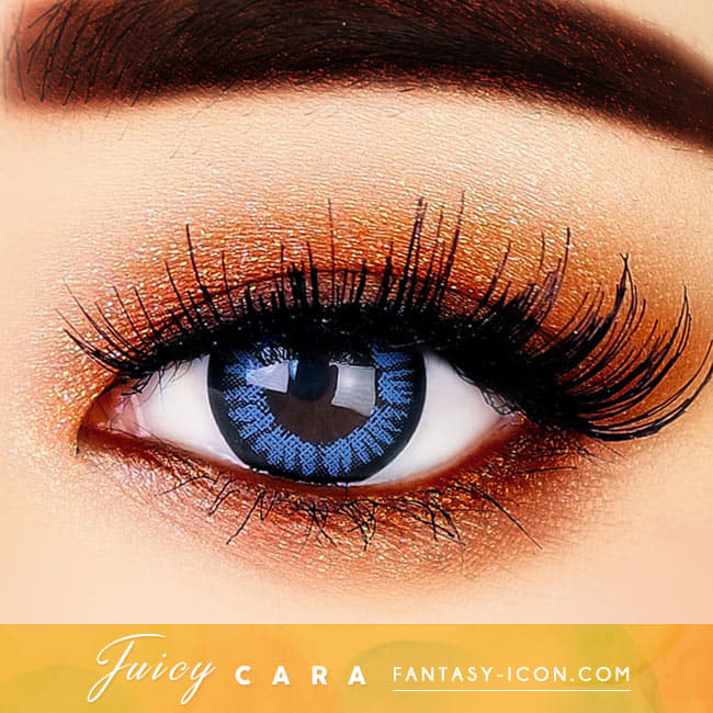 Juicy Cara Blue Colored Contacts For Astigmatism eyes detail