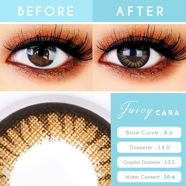 Juicy Cara Brwon Colored Contacts For Astigmatism toric eyes