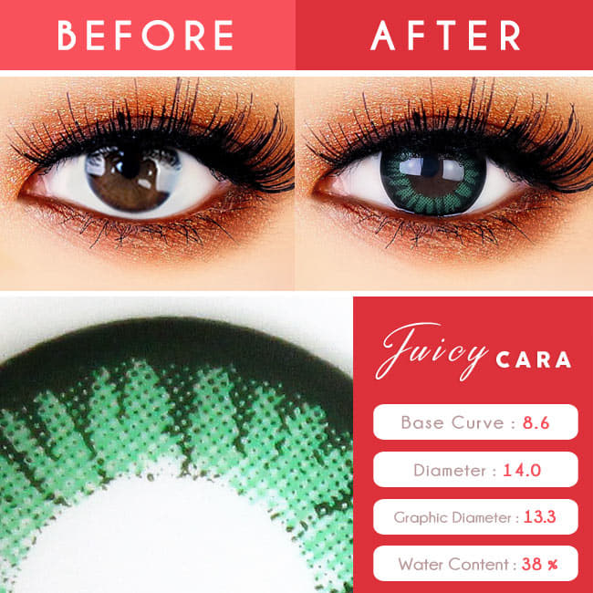 Juicy Cara Green Toric Lens Colored Contacts For Astigmatism detail
