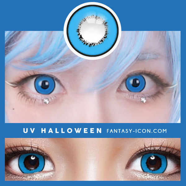 Cosplay UV Halloween Blue Contacts detail