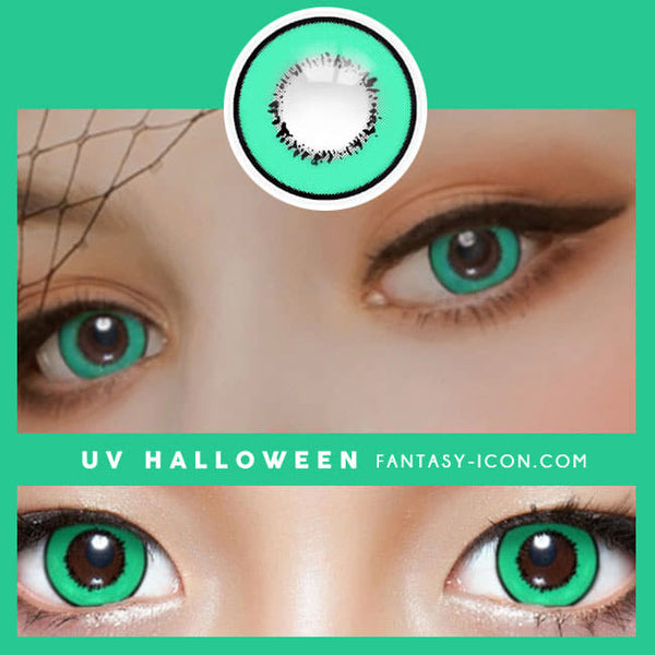 Cosplay UV Halloween Green Contacts detail
