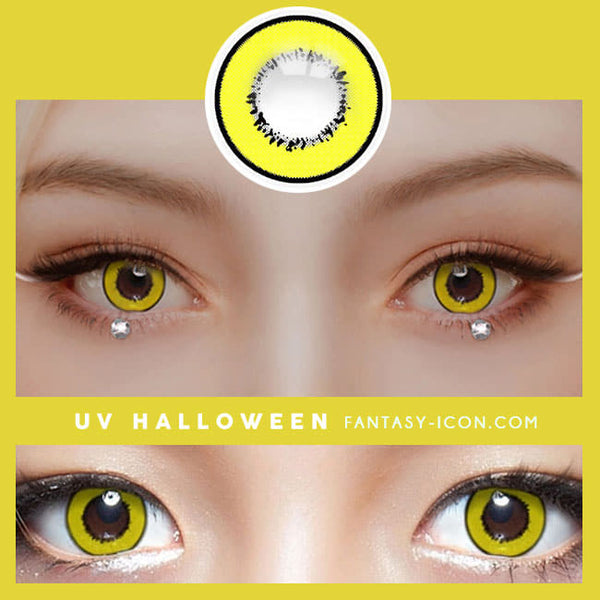 Cosplay UV Halloween Yellow Contacts detail