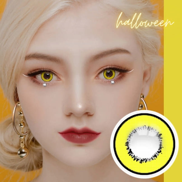 Cosplay UV Halloween Yellow Contacts