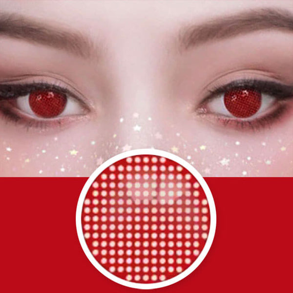Halloween Mesh Cosplay Red Contacts detail