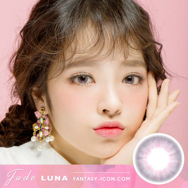 Jade Luna Grey Colored Contacts - Pink Lens model