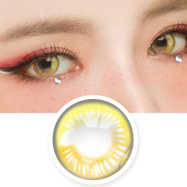Water Drop Cosplay Yellow Contacts eyes detail | Coscon Anime Lenses