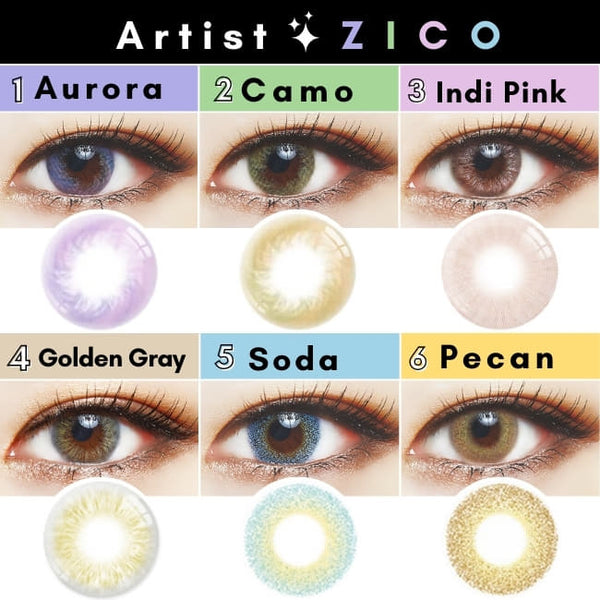 ZICO COLOR CONTACTS - Violet,brown,pink,gray,blue