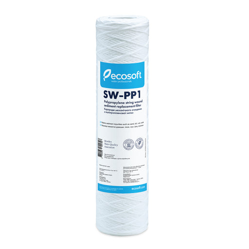 "Ecosoft PP String-Wound Sediment (Stage 1) Replacement Filter 2.5""× 10"" 1-Micron"