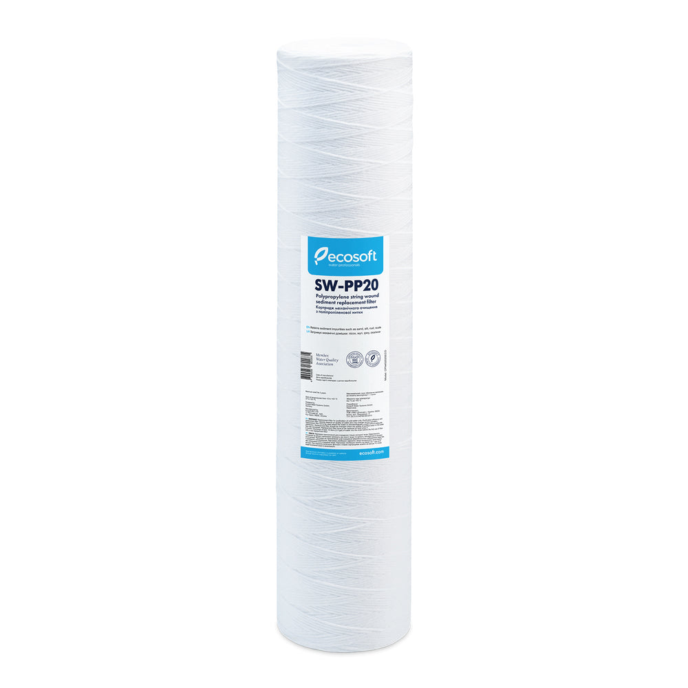 "Ecosoft PP String-Wound Sediment (Stage 1) Replacement Filter 4.5""× 20"" 20-Micron"