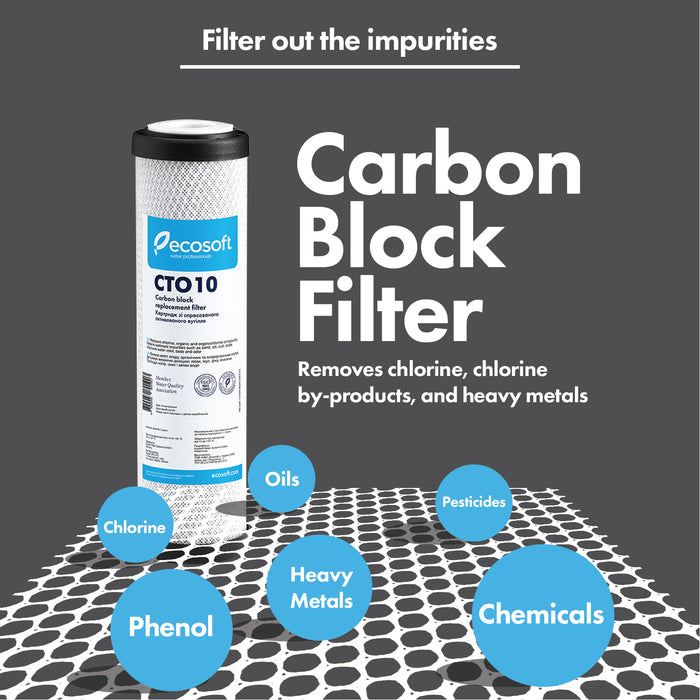 "Ecosoft Carbon Block Replacement Filter 2.5""×10"""