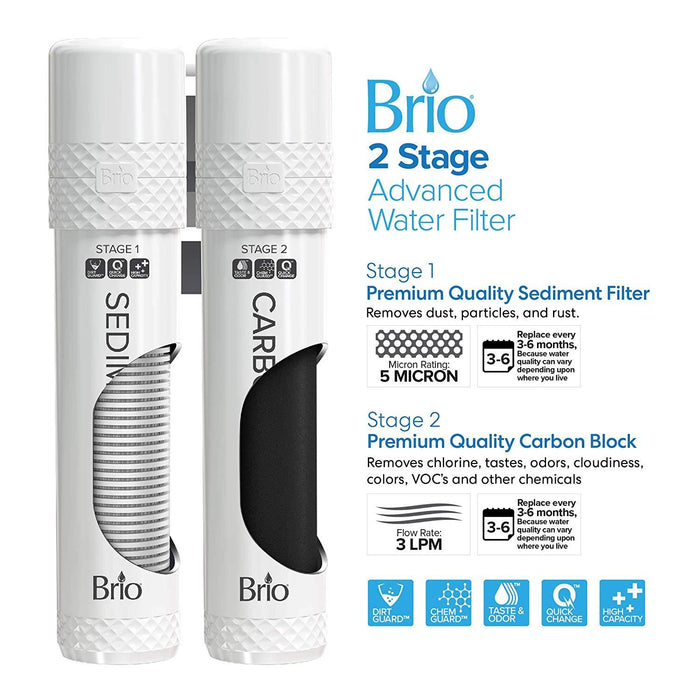 Brio 2 Stage Water Cooler Filter Replacement Kit - for Models with UVF2-1500 Gallons