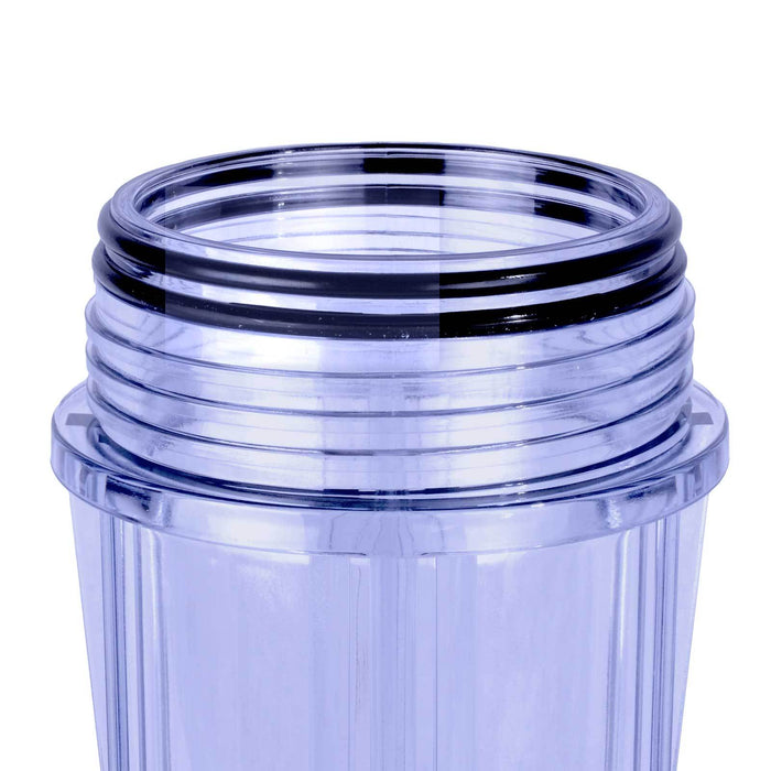 "Clear 2.5"" X 10"" Filter Housing and Female Cap with 1/2"" Inlet & Outlet"
